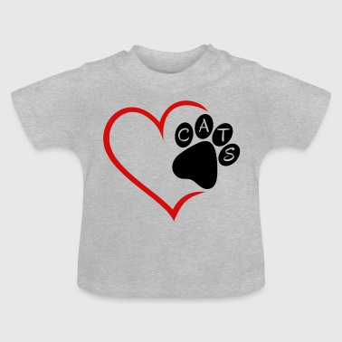 Cat Cats Heart Paw Pet Animals Cat Cats - Baby T-Shirt