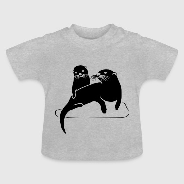 otter beaver fish sea lake river - Baby T-Shirt