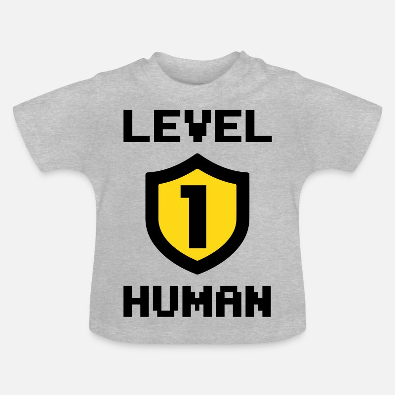 Gamble Baby Clothing - Level 1 human - Baby T-Shirt heather grey