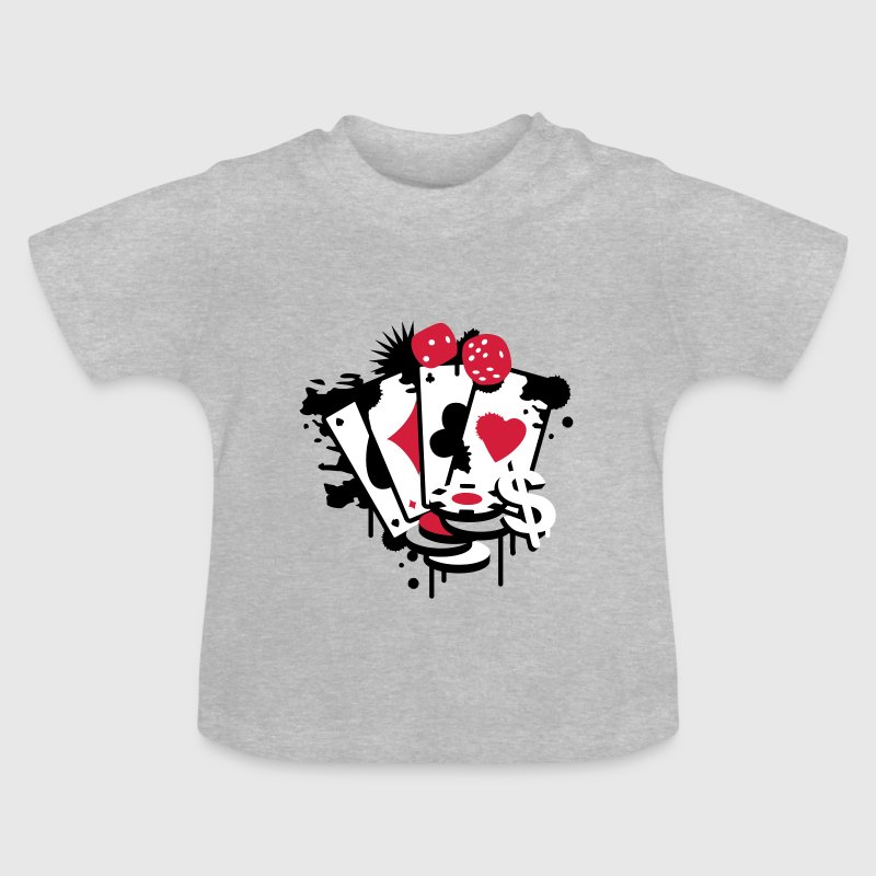 Card game hearts, spades, diamonds, clubs with dice and tokens - Baby T-shirt