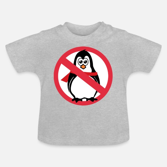 Ice Floe Baby Clothes - Penguin prohibition sign - Baby T-Shirt heather grey