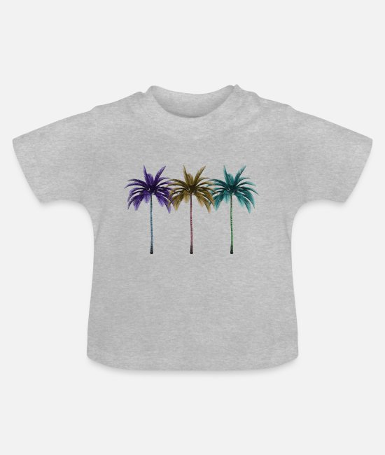 Summertime Baby Clothes - T-Shirt | Palm tree - Baby T-Shirt heather grey