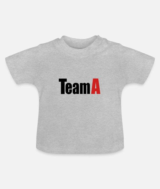 Red Baby Clothes - Team A - Baby T-Shirt heather grey