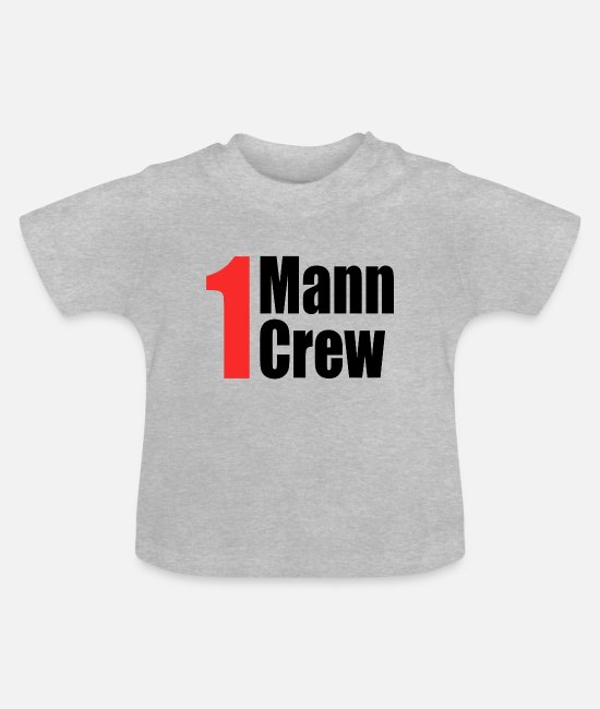Red Baby Clothes - 1 Mann Crew - Baby T-Shirt heather grey