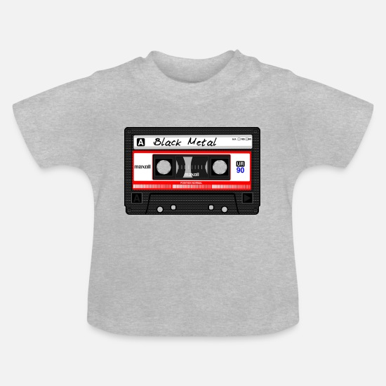 Metal Baby Clothes - Black Metal cassette / tape - Baby T-Shirt heather grey