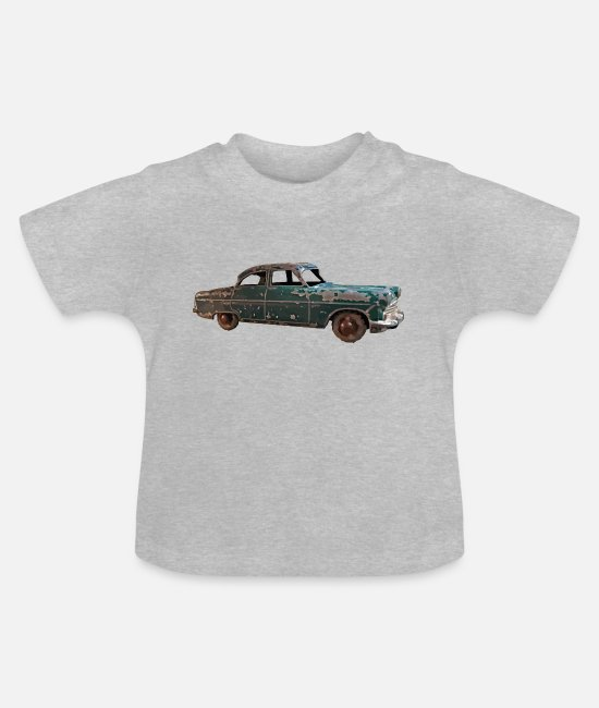 Car Enthusiast Baby T-Shirts - Vintage classic green car - Baby T-Shirt heather grey