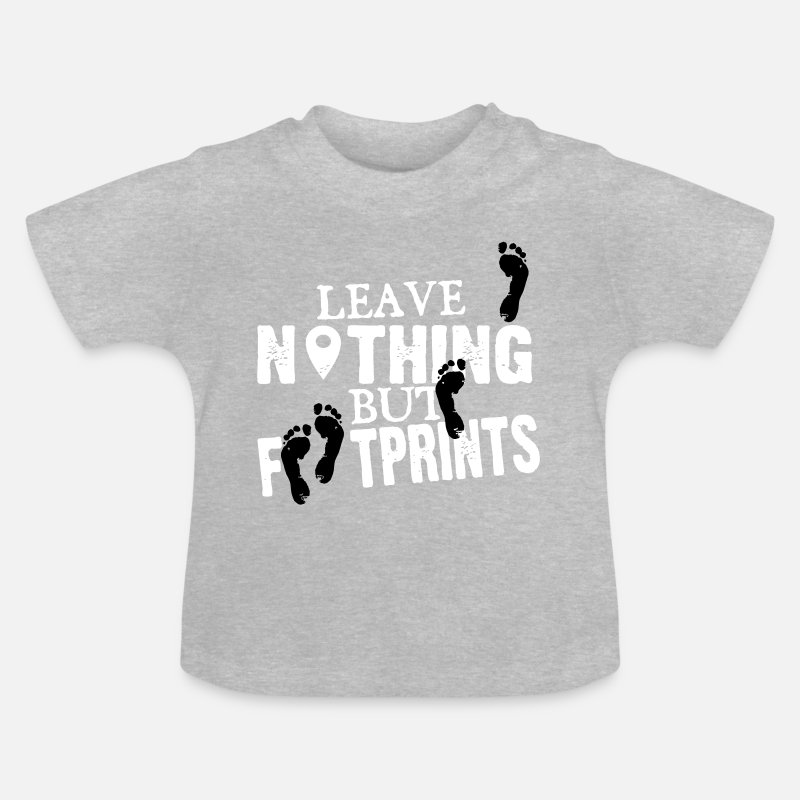 Orienteering Baby Clothing - Geocaching: leave nothing but footprints - Baby T-Shirt heather grey