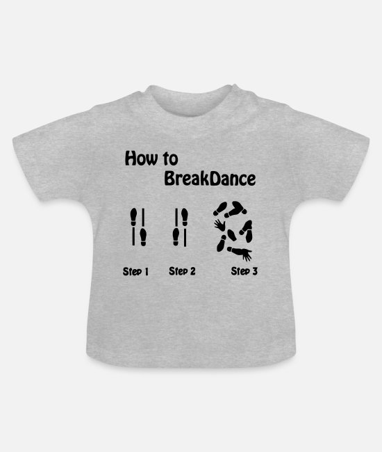 Voor Dummies Break Baby shirts - Hoe te Breakdance - Baby T-shirt grijs gemêleerd