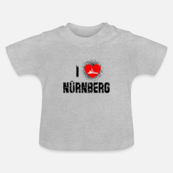 Gift Idea Baby Clothes - I love Nuremberg - Baby T-Shirt heather grey