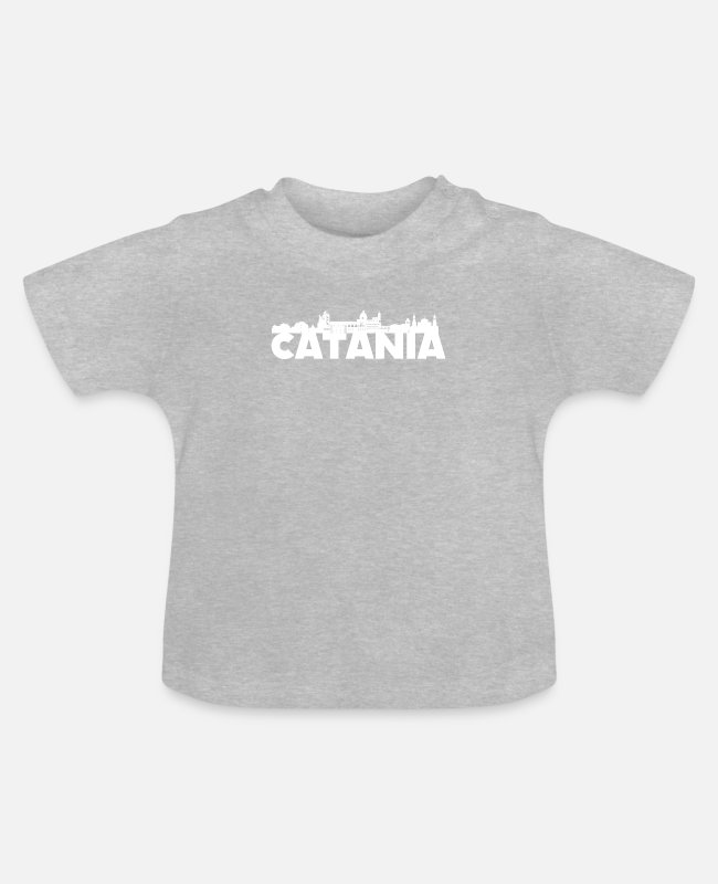 Travel Baby T-Shirts - Catania Italy skyline gift idea - Baby T-Shirt heather grey