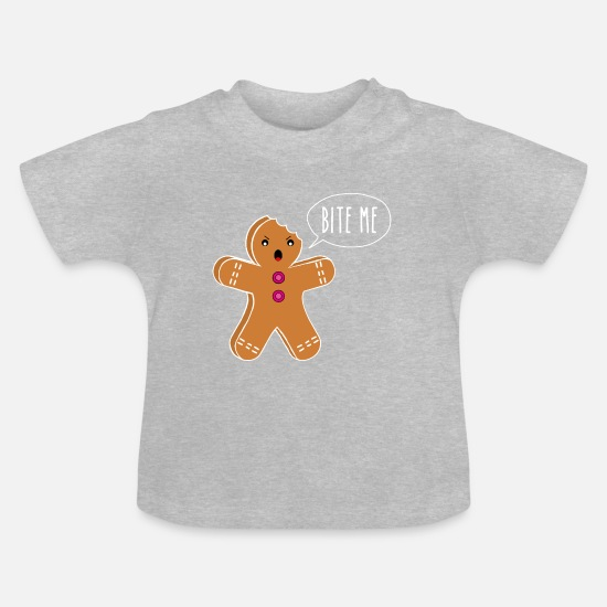 Pastries Baby Clothes - Gingerbread Bite Me - gingerbread - Baby T-Shirt heather grey