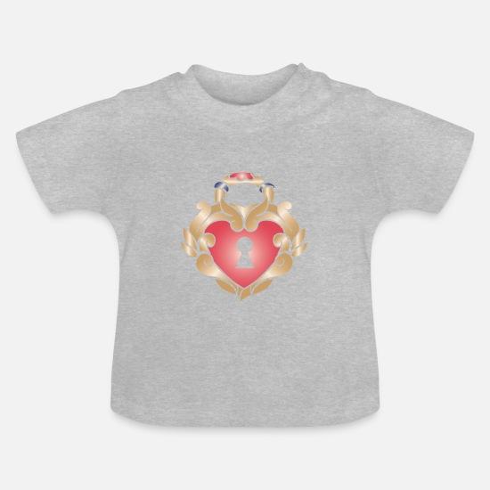 Serce Tatuaż Z Dziurką Od Klucza Koszulka Niemowlęca
