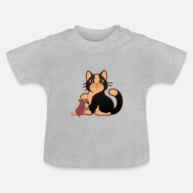 Mouse Cute cat with little mouse - Baby T-Shirt