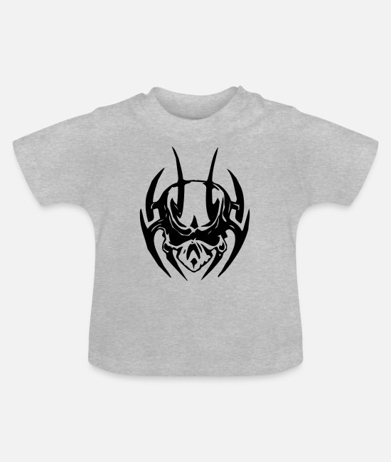 Skull And Crossbones Baby T-Shirts - Tribal Skull - Baby T-Shirt heather grey