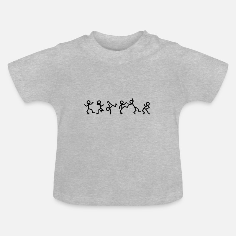 Hip Baby Clothing - Dancing stick figure Baby Shirts  - Baby T-Shirt heather grey