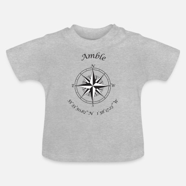 Amble, Northumberland Compass (black) - Baby T-Shirt