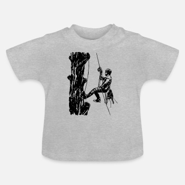 Arborist tree climber on oak (monochrome) - Baby T-Shirt