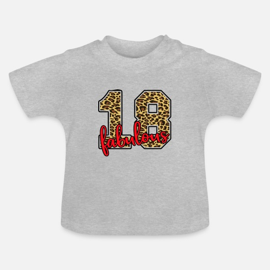 Birthday Baby Clothes - 18th birthday number fabulous - Baby T-Shirt heather grey