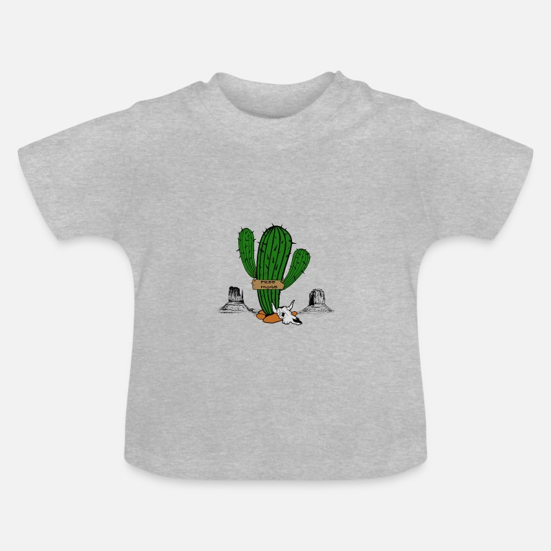 Cactus Baby Clothing - Free Hug, Sexy lone cactus - Baby T-Shirt heather grey
