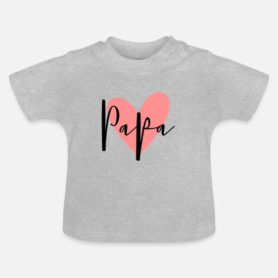 Father's Day Baby Clothes - Dad heart love family gift - Baby T-Shirt heather grey