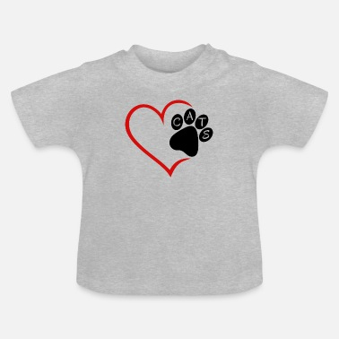 Pet Cat Cats Heart Paw Pet Animals Cat Cats - Baby T-Shirt
