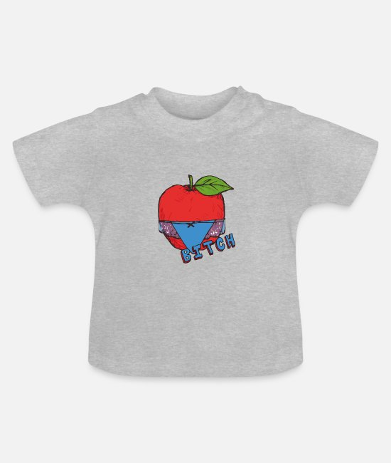 Appel Baby shirts - Apple Thong Underwear Bitch Funny Sexy - Baby T-shirt grijs gemêleerd