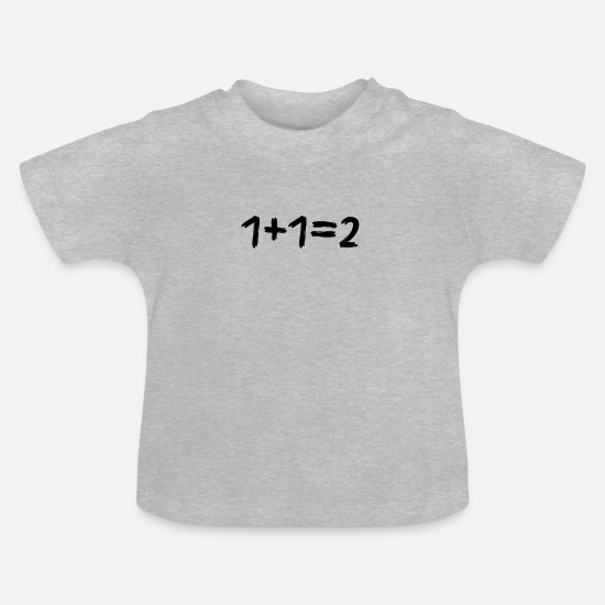 Calculator Baby Clothes - 1 + 1 = 2 math - Baby T-Shirt heather grey
