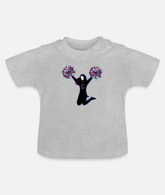Cheerleader Baby Clothes - A sporty cheerleader with pompoms - Baby T-Shirt heather grey