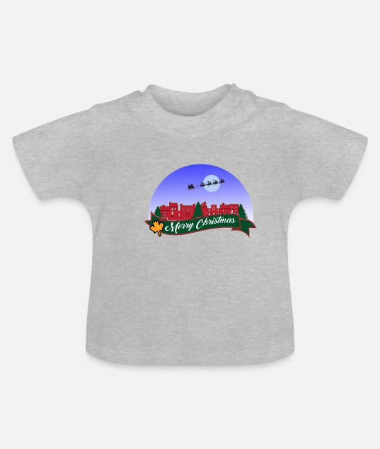 Heart Baby T-Shirts - Merry Christmas Merry Christmas - Baby T-Shirt heather grey