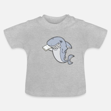 White Great white shark with book - Baby T-Shirt
