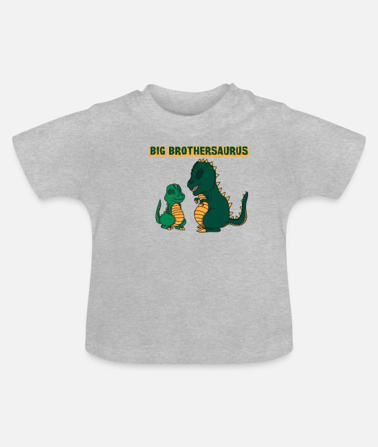 Primeval Times Baby T-Shirts - Big Brothersaurus Dino T-Rex Gift - Baby T-Shirt heather grey