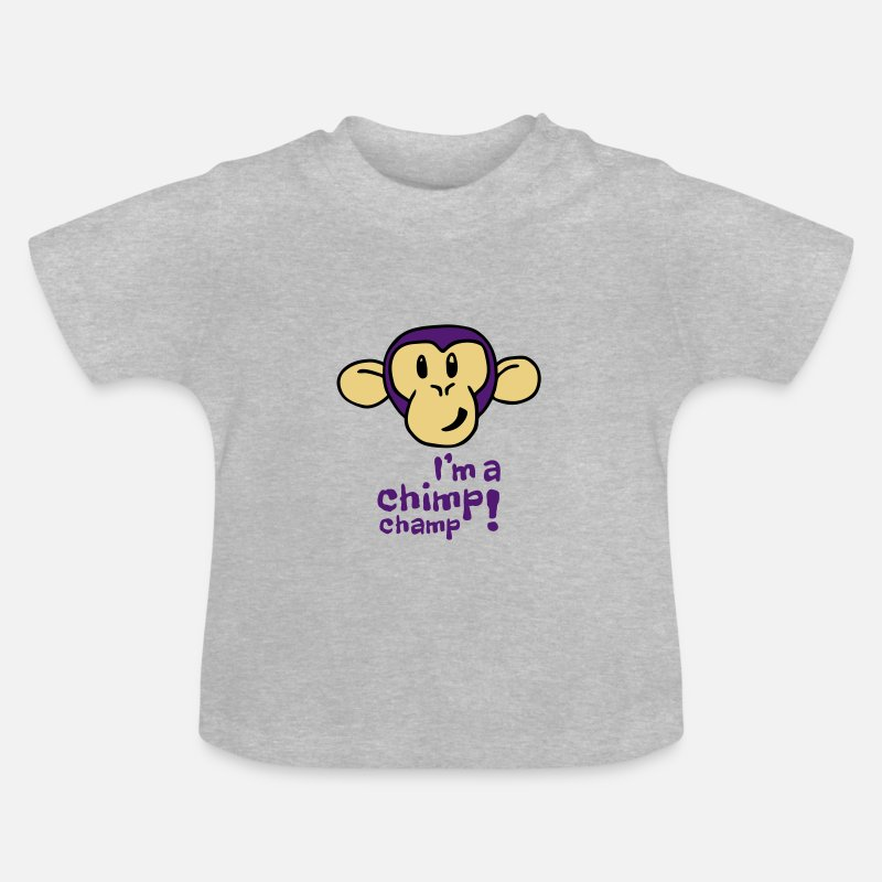 Animal Baby Clothing - Baby I'm A Chimp Champ T-Shirt - Baby T-Shirt heather grey