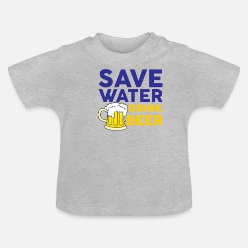 69ff95d45 Ahorrar agua beber cerveza - Camiseta bebé. delante