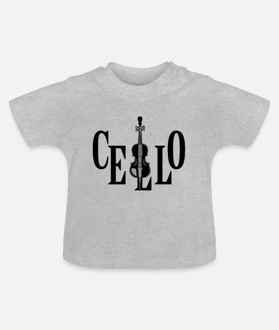 Cello Baby T-Shirts - Cello In Cello Orchestra Musical Instrument - Baby T-Shirt heather grey