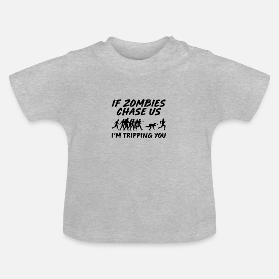 Gamer Baby Clothes - Zombie Chase Zombie Apocalypse Gamer Gift - Baby T-Shirt heather grey
