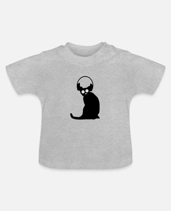 LAN-Party Baby T-Shirts - Katze nerdy online Gaming - Baby T-Shirt Grau meliert