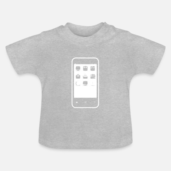 Birthday Baby Clothes - Smartphone Funny - Baby T-Shirt heather grey