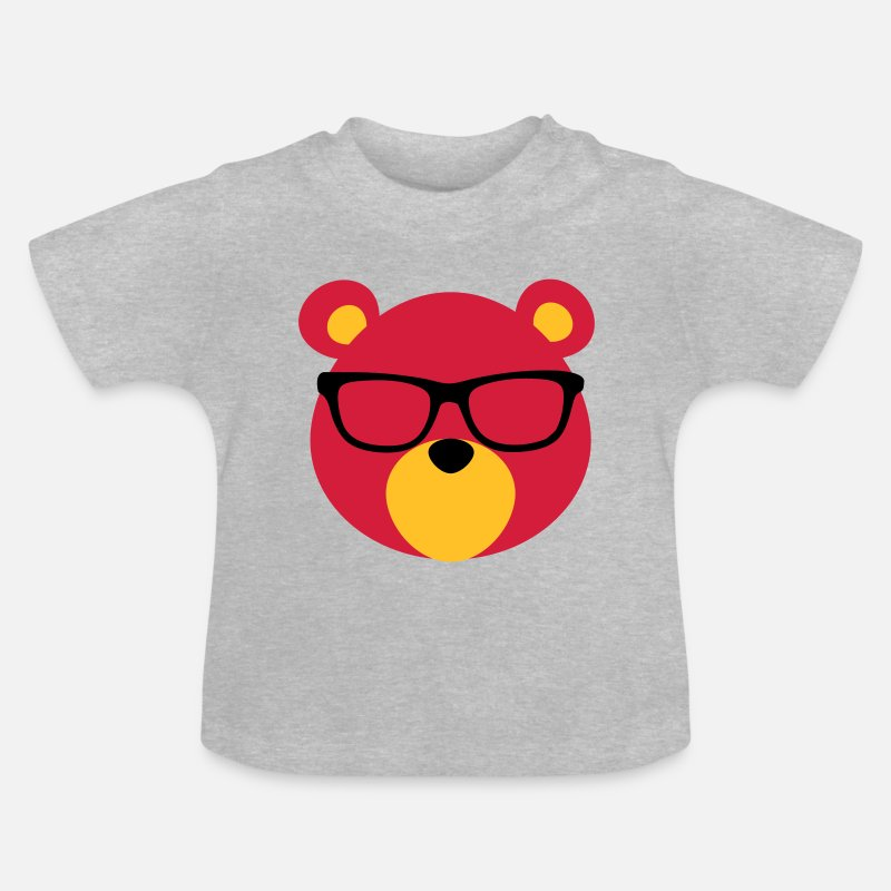 Glasses Baby Clothing - Bear with Glasses - Baby T-Shirt heather grey
