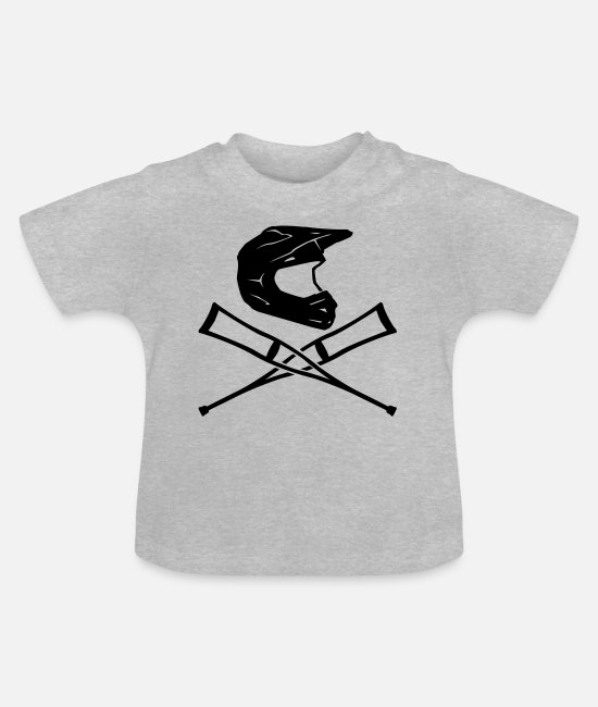 Motorcycle Baby Clothes - Enduro helmet with crutches - Baby T-Shirt heather grey