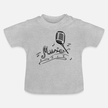 Mikrophon Retro microphone with music notes and clef. - Baby T-Shirt
