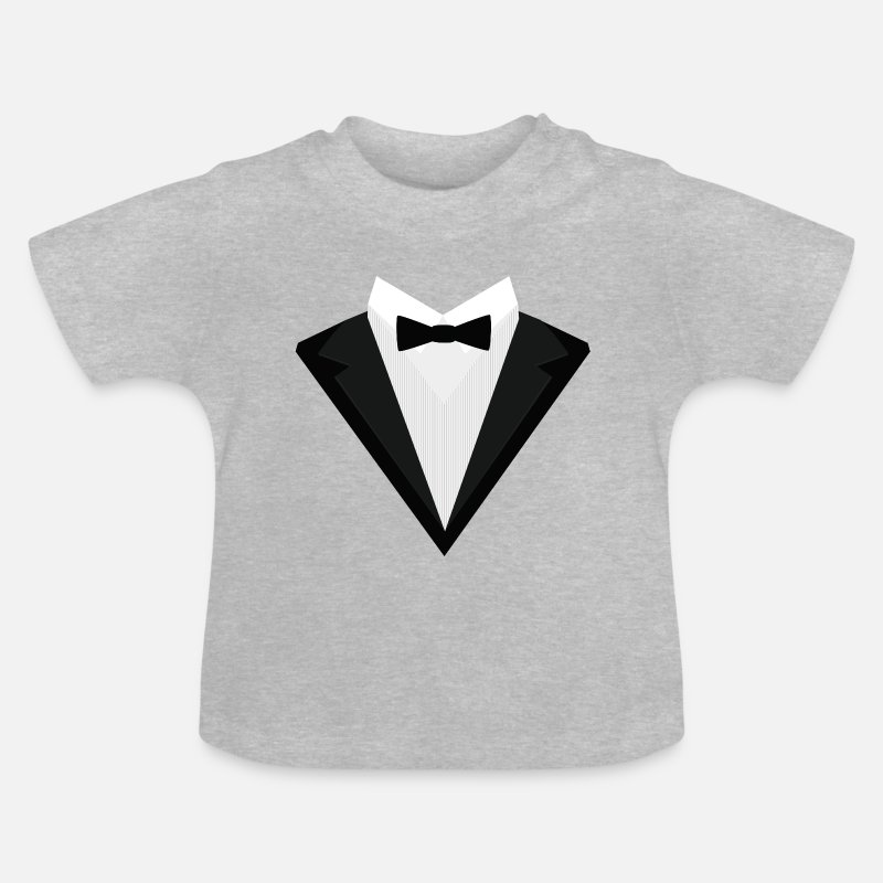 Tuxedo Baby Clothing - Black Tuxedo with white bow tie S946n - Baby T-Shirt heather grey