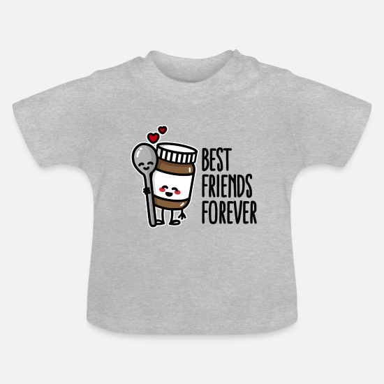 Surprise Baby Clothes - Best friends forever chocolate spread / spoon BFF - Baby T-Shirt heather grey
