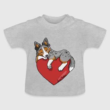 Border Collie Blue Merle Tricolor Herz - Baby T-Shirt