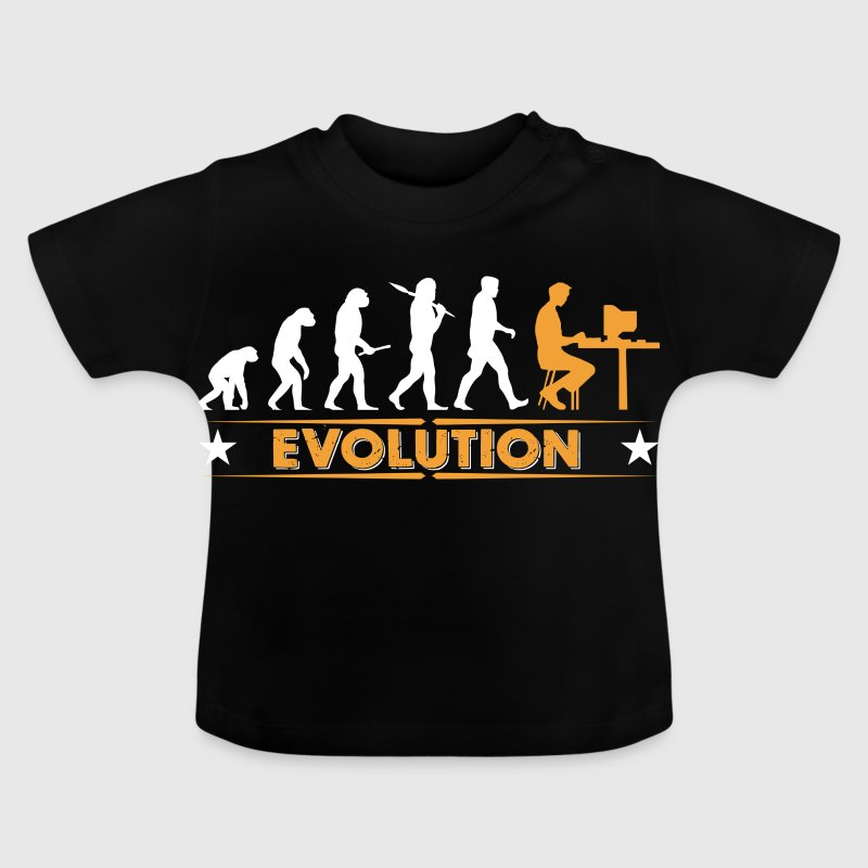 Computer Nerd Evolution - orange/weiss - Baby T-Shirt