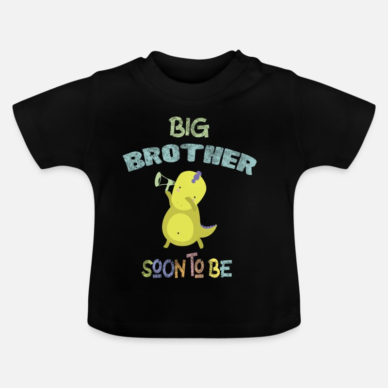 Announcement Baby Clothing - Big Brother Soon to be Baby Announcement DinoDab - Baby T-Shirt black