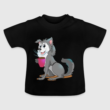 Nature Wild Pack Wolf with Coffee Gift Cartoon Kawaii - Baby T-Shirt