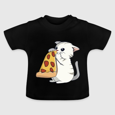 Chat mange une pizza - T-shirt Bébé