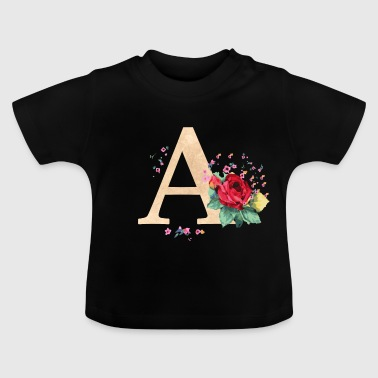 Letter initial letter A initials roses - Baby T-Shirt
