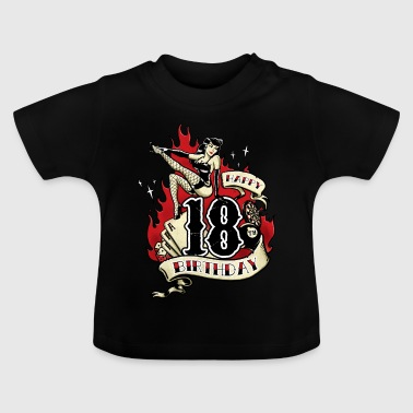 18th Birthday Pinup gift with sexy girl on fire - RAHMENLOS - Baby T-Shirt