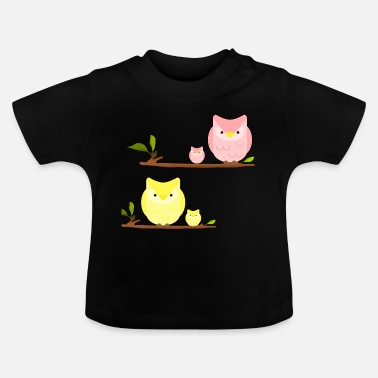 Owl Print owls on a branch - Baby T-Shirt